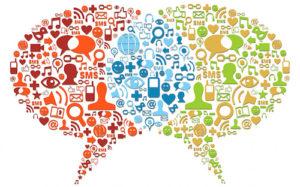 Social media icon set in bubbles talk