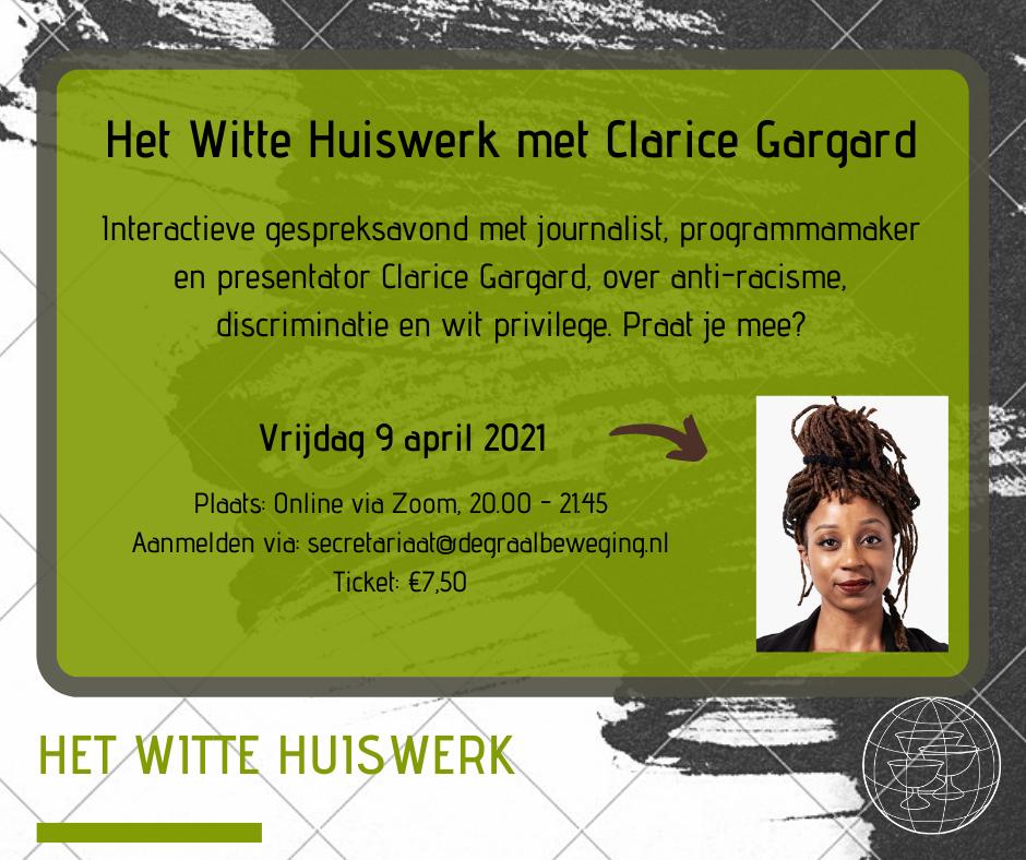 Het Witte Huiswerk – uitnodiging Clarice Gargard