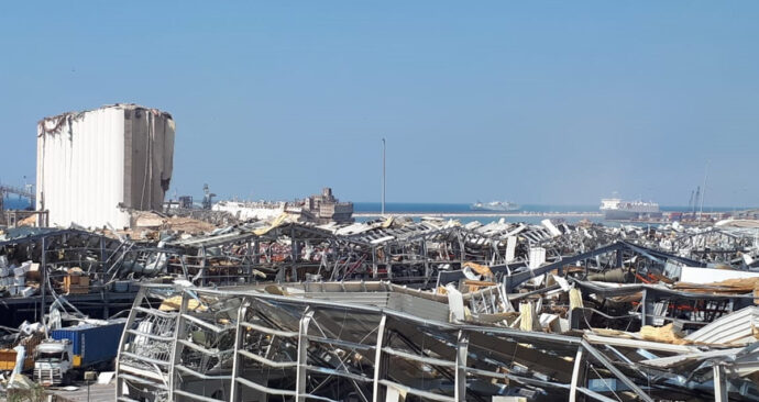 Foto van Beiroet na de explosie