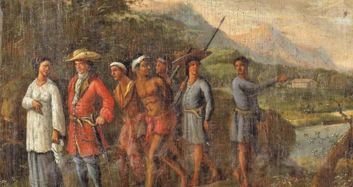 Hollandse_koopman_met_slaven_in_heuvellandschap,_anoniem,_1700_-_1725_-_Rijksmuseum